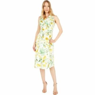 ロンドンタイムス London Times レディース ワンピース ミドル丈 Serenity Floral Fit-and-Flare Notch Collar Cotton Midi Dress White/