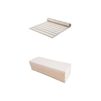 【セット買い】すのこベッド 桐 ロール式 通気性 シングル + マットレス 六つ折り 厚さ4cm シングル