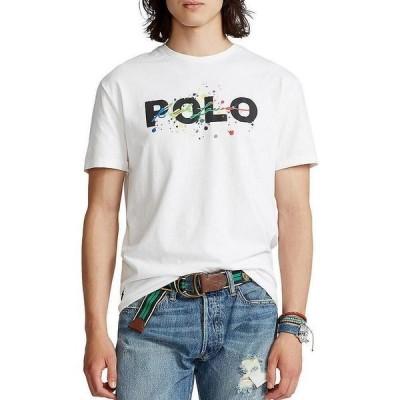 ラルフローレン メンズ Tシャツ トップス Classic-Fit Paint Splatter Logo Short-Sleeve Tee White