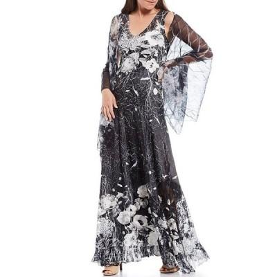 コマロフ レディース ワンピース トップス Floral Charmeuse Sleeveless V-Neck Dress with Wrap