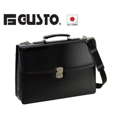 Gガスト 日本製  2室式 合皮かぶせクラッチバッグ B4ファイル対応 No23472-01 クロ ___