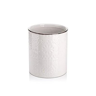 (18cm, White) - Lifver Fine Embossed Ceramic Crock Utensil Holder, 18cm x 1