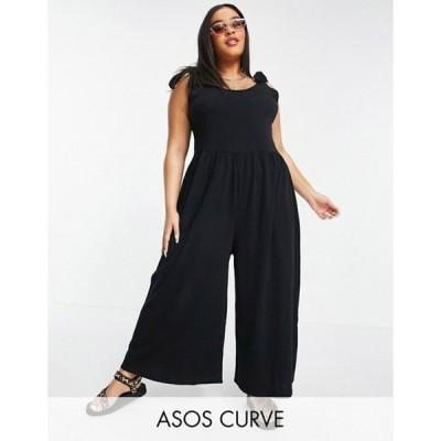 エイソス レディース ワンピース トップス ASOS DESIGN curve tie shoulder smock jumpsuit in black