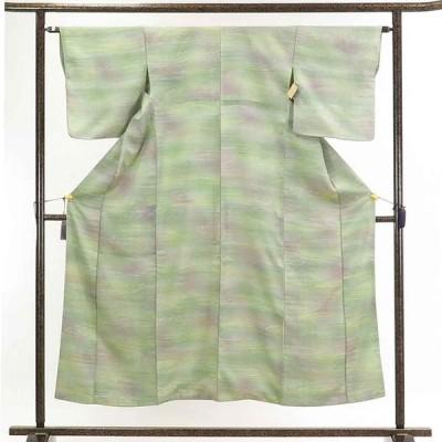 リサイクル着物 小紋 正絹薄グリーン地流水柄袷小紋着物