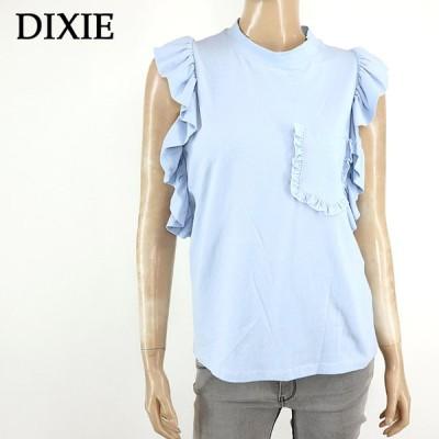 ディクシー(DIXIE)レディース 訳あり Tシャツ ブルー系  袖にフリル イタリア製 (サイズ/S)*ke0296