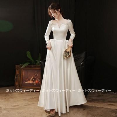 ウェディングドレス aラインドレス 安い ウエディングドレス 長袖 サテン 二次会 花嫁 パーティードレス 披露宴 ブライダル 結婚式 前撮り wedding dress