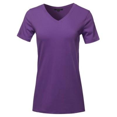 レディース 衣類 トップス A2Y Women's Basic Solid Premium Cotton Short Sleeve V-neck T Shirt Tee Tops Dark Purple S