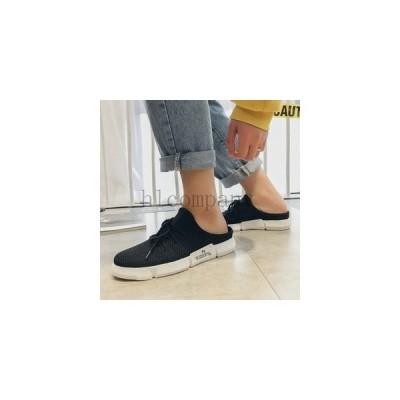 サンダルスリッパメンズ靴スニーカースリッポン軽量トレンドオシャレカジュアルブラックホワイト履きやすいぺったんこフラット