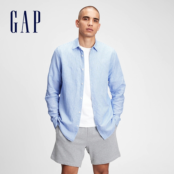 Gap男裝 亞麻混紡休閒長袖襯衫 807444-淺藍條紋