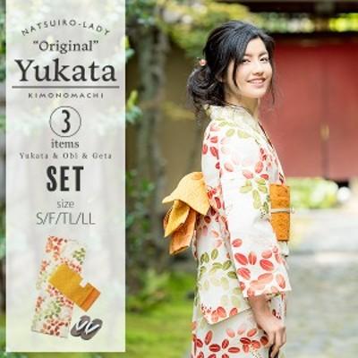京都きもの町オリジナル 浴衣3点セット「赤×緑 萩」女性浴衣 綿浴衣 レトロ [送料無料]ss2106ykl50