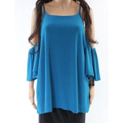 レディース 衣類 トップス INC NEW Blue Women's Size Large L Cold-Shoulder Flutter-Sleeve Blouse ブラウス&シャツ