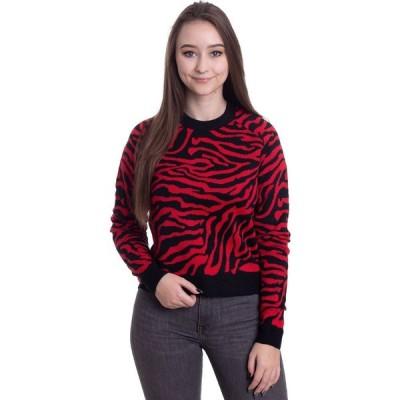 アーバンクラシックス Urban Classics レディース ニット・セーター トップス - Short Tiger Sweater Black/Firered - Pullover red