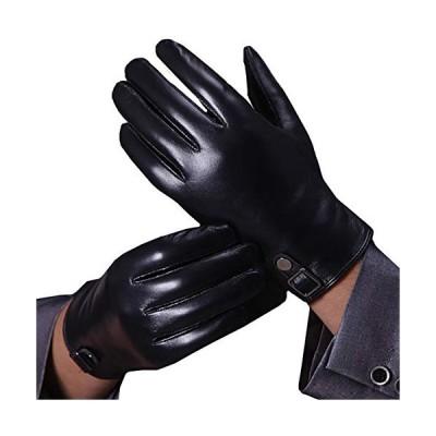 WHITE FANG(ホワイトファング) 手袋 グローブ 秋冬 防寒 おしゃれ レザー スマホ 液晶対応 裏起毛 メンズ NT077 (ブラック)