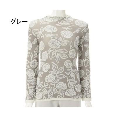 バラ柄 ふくれ編み セーター 329-037