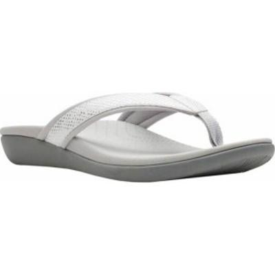 クラークス レディース サンダル シューズ Brio Sol Thong Sandal White Snake Synthetic