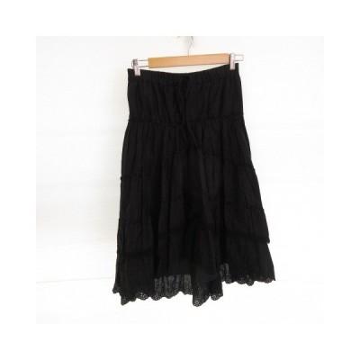 【中古】ジョイアス Joias 膝丈スカート フレア フィッシュテール 刺繍 黒 F *E347 レディース 【ベクトル 古着】