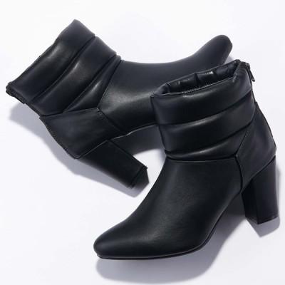 ベルーナ フェイクレザーキルティングショートブーツ ブラック LL(24.5cm) レディース