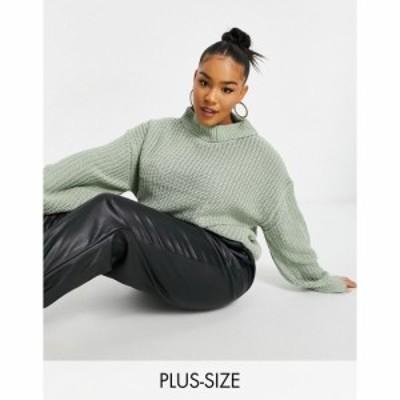 スリードベア Threadbare Curve レディース ニット・セーター トップス Threadbare Plus grace chunky knit jumper グリーン