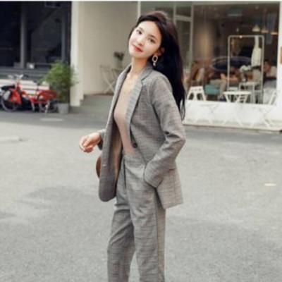 結婚式 パンツスーツ S-XL 予約 セットアップ 韓国風 チェック柄 上下セット 長袖 ジャケット + 九分丈パンツ OL 通勤 HZ190721-020 送料