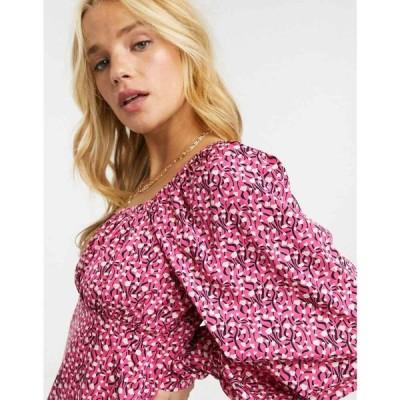 ヴェロモーダ Vero Moda レディース ブラウス・シャツ トップス ruched blouse with volume sleeves in pink spot print ピンクマルチ