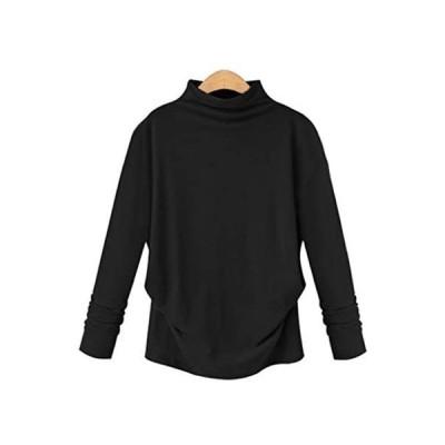 [モルクス] tシャツ オフネック 折り返し ゆったり コットン 綿 (ブラック、ホワイト、ダークグレー) S〜5XL (ブラック S)