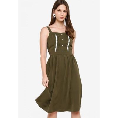 ザローラ ZALORA レディース パーティードレス ワンピース・ドレス Fit & Flare Dress with Pintucks Khaki Green