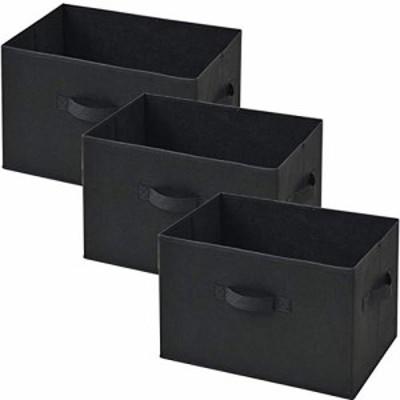【送料無料】[山善] どこでも収納ボックス(3個セット) ブラック YTCF3P-(BK)