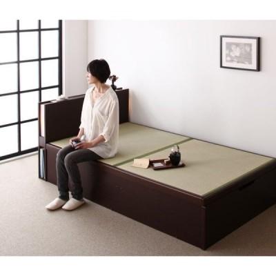 畳ベッド 跳ね上げ式ベッド シングル ブラウン(フレームのみ マットレスなし)組立設置無し 縦開きタイプ 国産畳