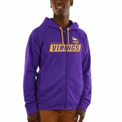 """マジェスティック メンズ パーカー """"Minnesota Vikings"""" Majestic Game Elite Synthetic Full-Zip Hoodie - Purple"""