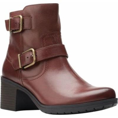 クラークス レディース ブーツ・レインブーツ シューズ Women's Clarks Hollis Sonar Ankle Bootie Mahogany Full Grain Leather