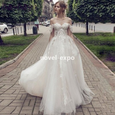 プリンセスラインビスチェタイプ袖なしAライン結婚式ドレス2019新作二次会ドレス花嫁ドレス海外挙式ロングドレス福袋刺繍パーティードレス福袋