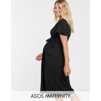 エイソス レディース ワンピース トップス ASOS DESIGN Maternity textured midi wrap dress with flutter sleeve in black Black