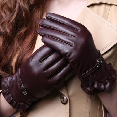 本革手袋 グローブ レディース 羊革 裏起毛 glove 手袋 女性用 バイク 自転車 バイク手袋 可愛い 肌触り 温かさ抜群
