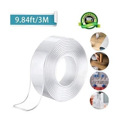 Tianhaixingテープ両面テープマジックテープ透明スーパー残渣無料繰り返し可能な多目的マルチサイズテープ滑り止めテープ強力なパッド剥離