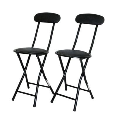 折りたたみ パイプ椅子 背付き 2点セット 送料無料 ホームチェア フォールディングチェア 軽量 丸型 簡易チェア 快適 便利 ブラック 黒 mt-2000bk-2