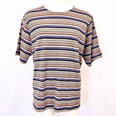 【新品】SAUNTERAVENUE - L レディース 若干薄手 半袖Tシャツ カットソー ボーダー柄 丸首 綿100% サーモンピンク×パープル×ベージュなど