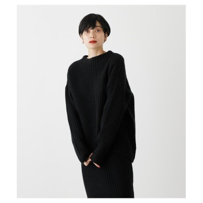 (AZUL by moussy/アズールバイマウジー)RIB KNITTED ASYMMETRY TOPS/レディース BLK