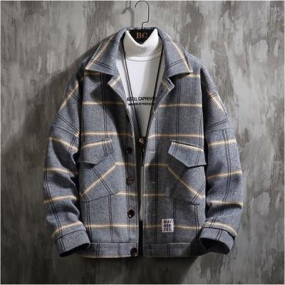3色有り メンズ チェック柄 ジャケット ブルゾン スウィングトップ 長袖 ショートスタイル お洒落 アウター カジュアル M〜3XL