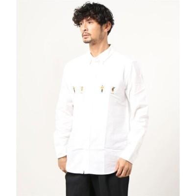シャツ ブラウス 【a】オックスパネルFUNK刺繍ボタンダウン長袖シャツ