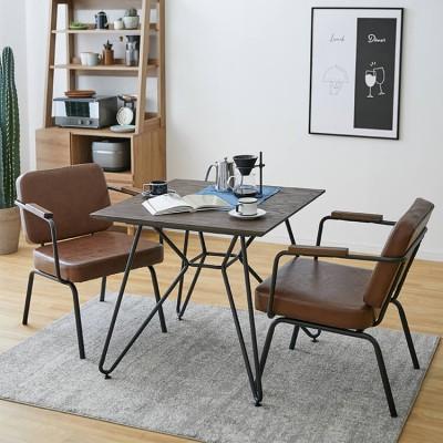 [幅80] ダイニングテーブルセット ソファ 2人掛け(3点) 木製 インダストリアル調 ヴィンテージ調