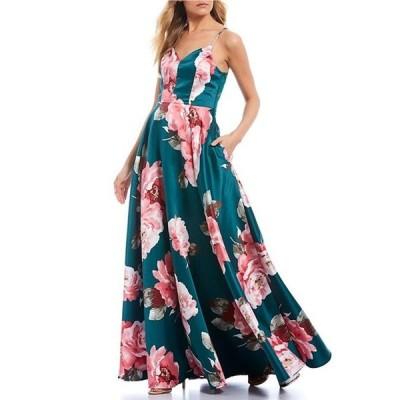 シティヴァイブ レディース ワンピース トップス Spaghetti Strap Floral Print Lace-Bra-Back Ballgown
