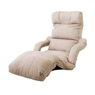 アイリスプラザ 座椅子 アイボリー 肘掛け付き 脚置き リクライニング 42段階 幅78×奥行123×高さ84cm YCK-002