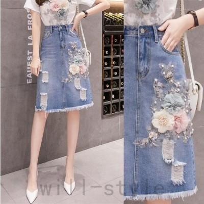 デニムスカート花刺繍ビーズパール韓国オルチャンストリートきれいめコサージュ原宿系ダメージジーンズボトムス