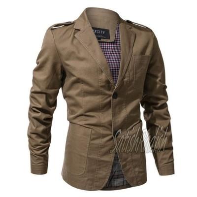 テーラードジャケット メンズ ミリタリージャケット 春 秋 コットン カジュアル スーツジャケット 無地 シンプル ビジネス アーミー