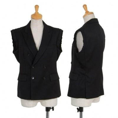 ブラック コムデギャルソンBLACK COMME des GARCONS カットスリーブウールジャケット 黒S 【レディース】