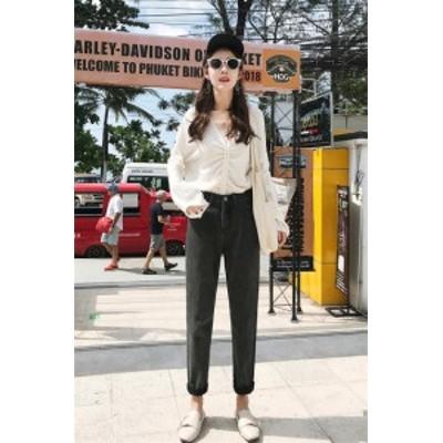韓国ファッション おしゃれ  ゆったり ハイウエスト デニム ジーンズ ロングパンツ