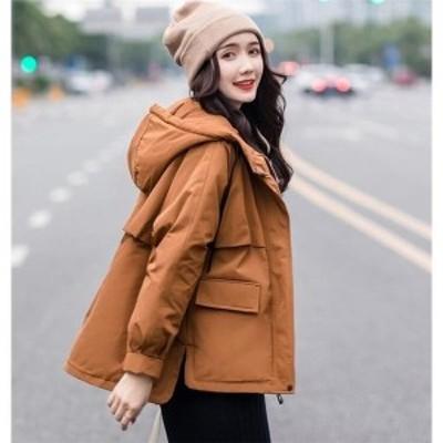 中綿ジャケット レディース ブルゾン 中綿コート ダウンジャケット アウター ショート丈 冬 防寒 ダウンコート フード付き