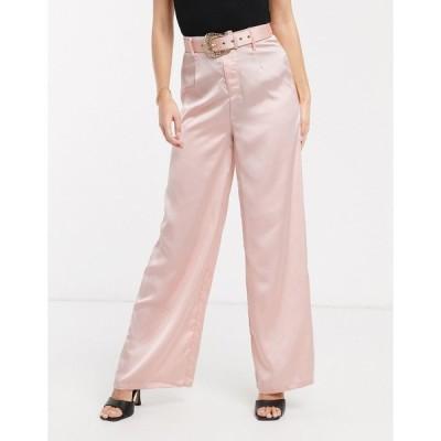 ラブアンドアザーシング レディース カジュアルパンツ ボトムス Love & Other Things belted satin wide leg pants in light pink Light pink