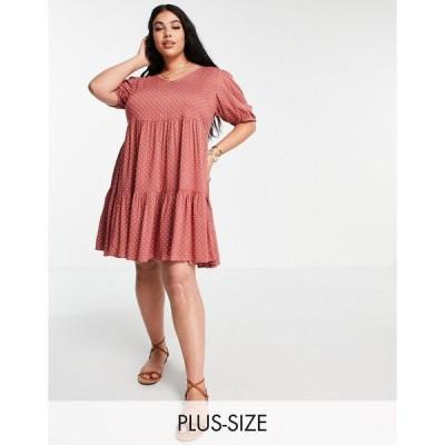 ユアーズ ドレス 大きいサイズ レディース Yours tierred mini dress in rust spot エイソス ASOS