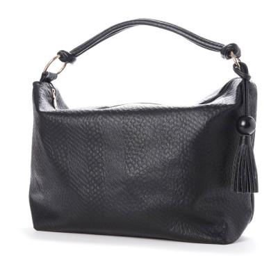 ヴィータフェリーチェ VitaFelice ショルダーバッグ レディースバッグ 肩掛け ワンハンドルトートバッグ  旅行バッグ (BLACK)